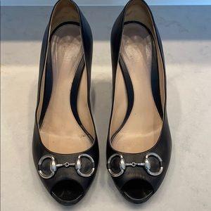 Black Gucci open toe pumps authentic